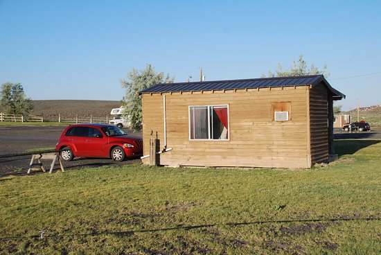 """Burns, OR: The """"Bunkhouse"""" cabin we stayed in with its own bathroom."""