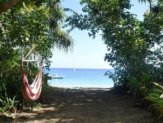 Uoleva Island, Tonga: View from glamping tent fale deck