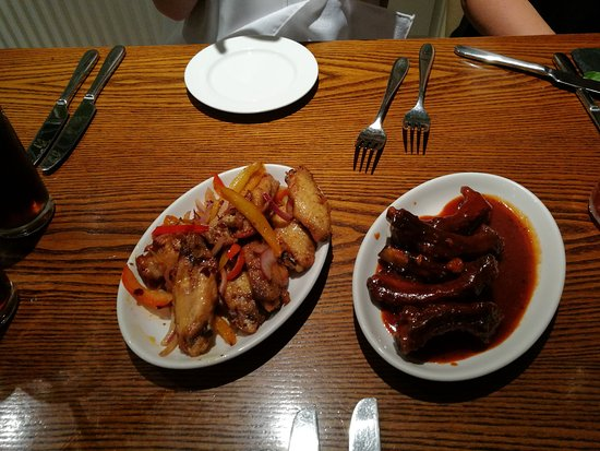 Rainhill, UK: Salt and Pepper Chicken Wings and BBQ Ribs