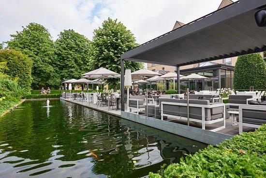 Ariane hotel: pond near terrace - vijver bij terras