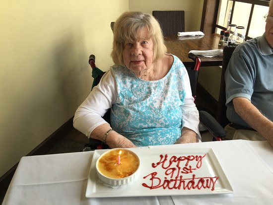 Sebring, FL: A special complimentary treat prepared for my mother's 91st birthday!