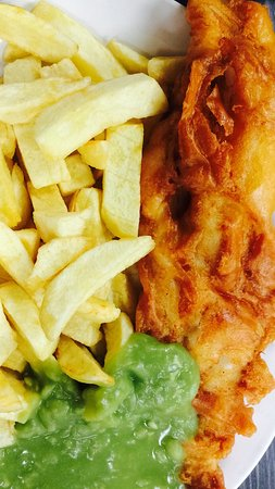 Yorkshire Fisheries: Everyday special Cod chips and peas, tea, bread and butter