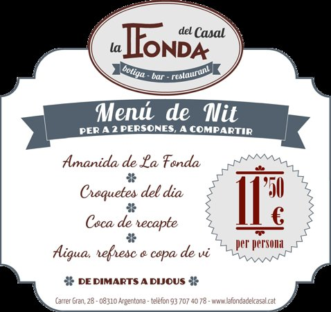 Argentona, Espanha: Menú noche para 2 personas por 11,50/pax