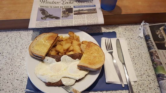 Windsor locks diner: Eggs Over Easy with Gyro Meat, Home Fries and Rye Toast