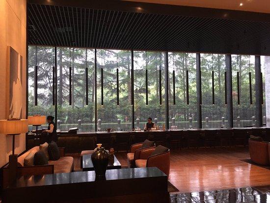 The PuLi Hotel and Spa: Puli Shanghai -- lobby entrance & Long Bar view toward Jing'an Park