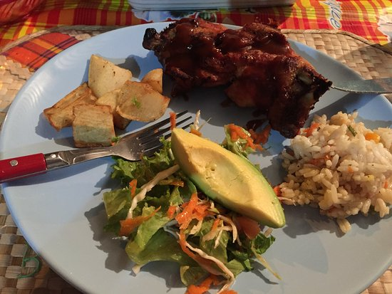 Laborie, St. Lucia: BBQ Chicken, Rice, Salad, Potatoes