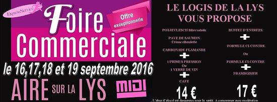 Aire-sur-la-Lys, Frankrike: Menu spécial Foire commerciale d'Aire sur la Lys 2016