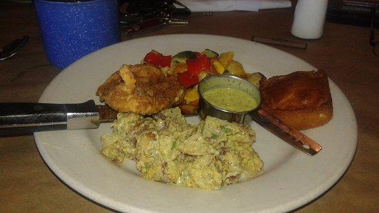 Montana's BBQ & Bar: Buttermilk chicken, potato salad and cornbread,