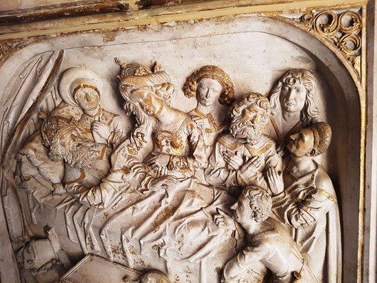 Bamberger Dom : il re Enrico II morente, bassorilievo sul monumento funebre