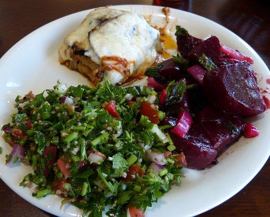 Sassool: The vegetable lasagna with roasted beet salad and tabouli