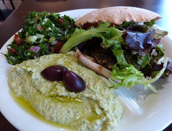 Sassool: Kafta sandwich, jalapeno cilantro hummus and tabouli