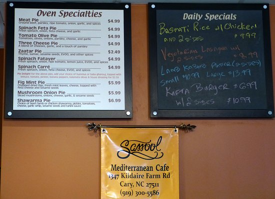 Sassool: Oven specialties and specials on the day of our visit