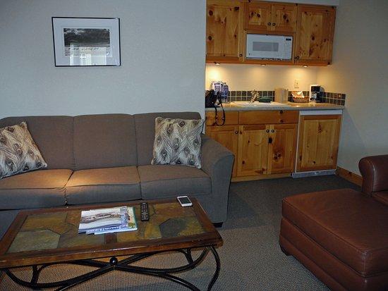 Sandpoint, Айдахо: Sofa, coffee table, kitchenette