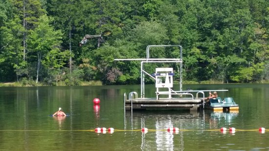 Mountain Rest, SC: A fully clothed park ranger took a dive on the last day of the swimming season: labor day.