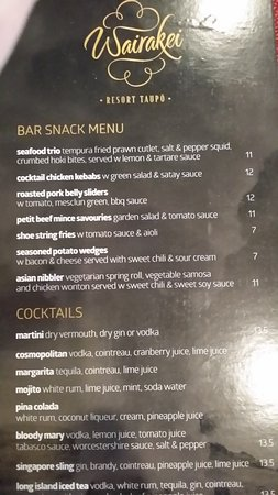 Wairakei Resort Taupo: Bar Snack menu
