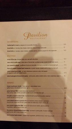 Wairakei Resort Taupo: Pavilion Restaurant menu