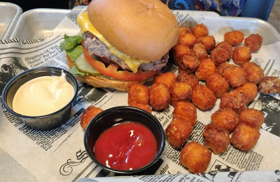 Lakeville, MN: House burger and sweet tater tots