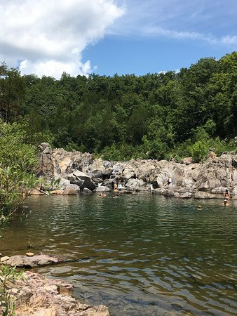 Middle Brook, MO: Swimming hole below the rocks.