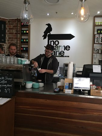 No Name Lane: Great coffee and friendly service. I had a flat white and ordered the smoked salmon on rye. Love
