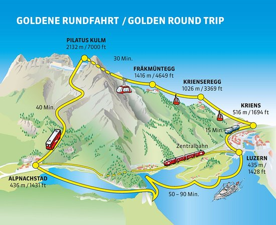 The golden round trip map Picture of Mount Pilatus Lucerne