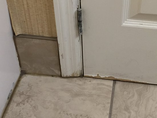 Comfort Inn & Suites: Filthy bathroom, peeling wallpaper, bathroom door