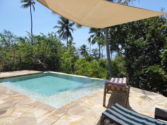 Bellevue Guesthouse: The small pool with the view towards the beach