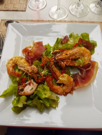 Maurens-Scopont, France: Salad de Gambas et Chipirons