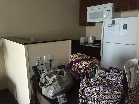 Andover, MA: View of kitchenette from bedroom. Table is under the bags.