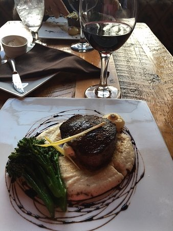 The Rustic Lounge at Cedar Glen Lodge: The filet comes on top of creamed potatoes with a side of grilled asparagus and a steamed baby o
