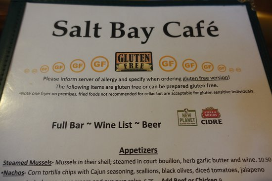 Salt Bay Cafe : Gluten free menu