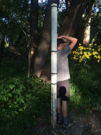 Historic Fort Snelling: This pole shows all of the floods the park has experienced.