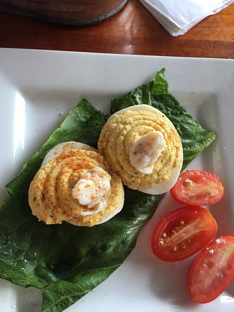 Arnold, MD: deviled eggs with crab topping