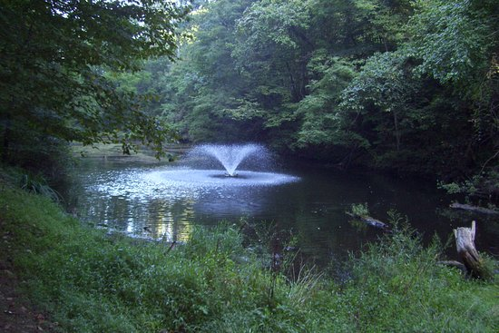 Greeneville, TN: Pond with walking trail from pool to lodge.