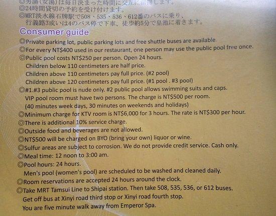 Emperor Spa Price List