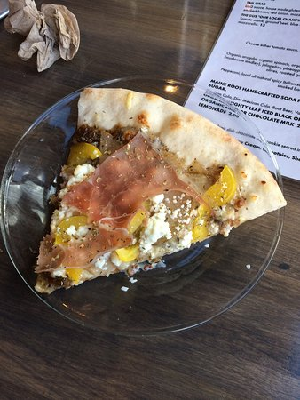 The Railjam pizza with pear, goat cheese, Italian sausage, really good and the Beer Buddy pretze