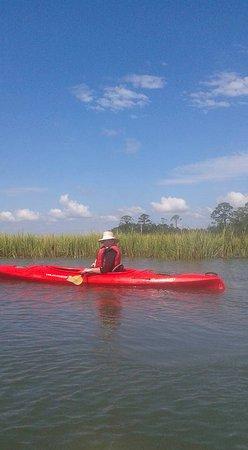 Beaufort Kayak Tours: Husband in the kayak!