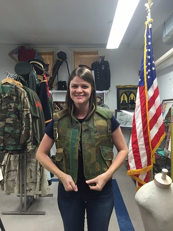 Vermilion County War Museum: They let me try on a flak jacket