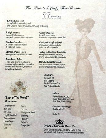 Myrtle Creek, OR: Tea Room menu