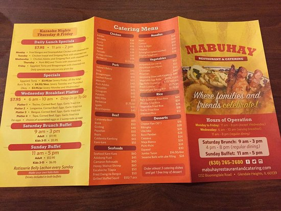 Glendale Heights, IL: Menu exterior