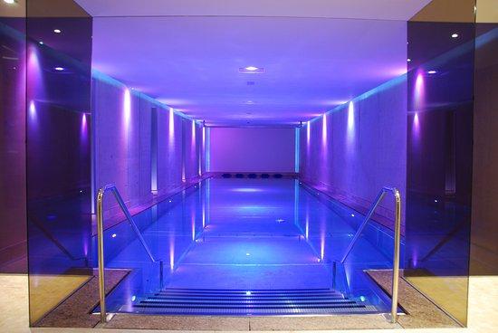 Jerzens, Austria: La piscine intérieure toute en inox et au fonds un écran de cinéma
