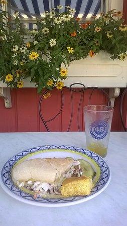 Elk Rapids, MI: Pearl's New Orleans Kitchen's Poor Boy sandwich and Short's Hard cider!