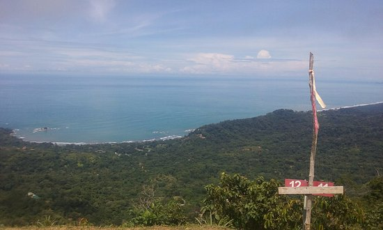 Dominical, Costa Rica: looking down at the landing zone from the launch pad