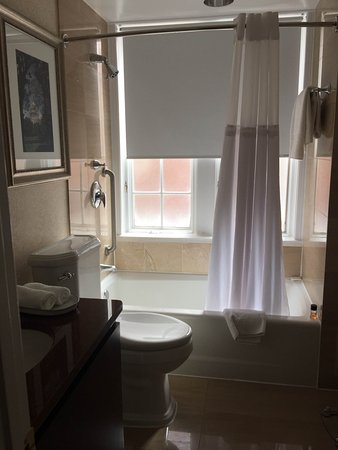 The Fairfax at Embassy Row, Washington D.C.: The windows are frosted; the window sill is marble.