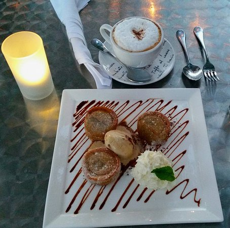 Ridgefield, CT: Dark chocolate & Banana Beignets with espresso gelato and vanilla whipped cream.