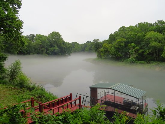 Heber Springs, AR: Mist on the river from the deck