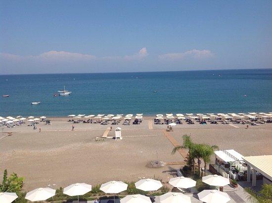 TUI Sensimar Lindos Bay Resort & Spa: View of beach from balcony.