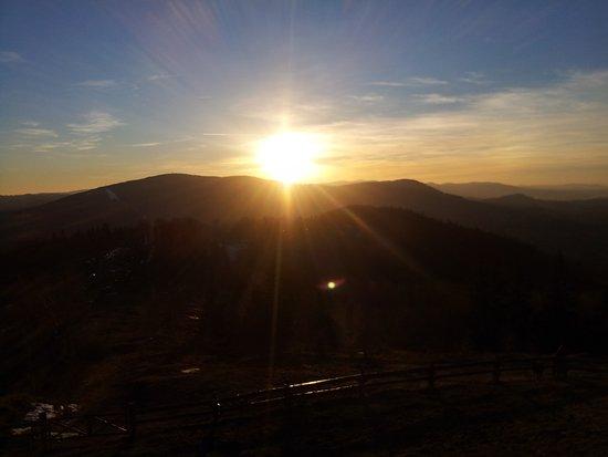 Ustron, Pologne : zachód słońca nad Czantorią