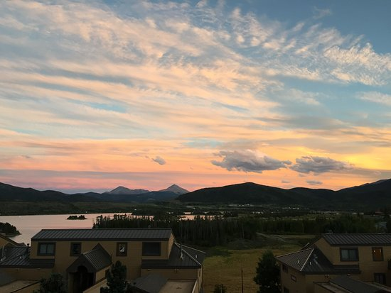 Dillon Reservoir: Sunset view of Lake Dillon from our condo