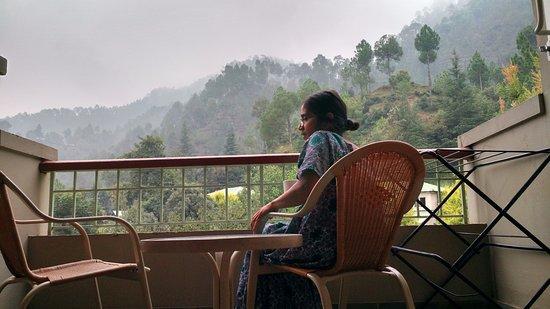 Misty mountain from balcony