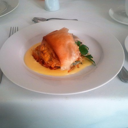 Duggan Place: Another treat ... baked phyllo pastry filled with eggs and mushrooms, over a bed of potato rosti